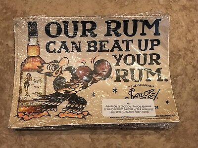 """Sailor Jerry Spiced Rum """"Our Rum Can Beat Up Your Rum"""" Counter Decal, pack of 5"""