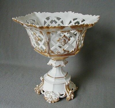 Beautiful Reticulated  Antique Old Paris Compote With Gilding