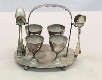 Walter Oxley Tray with 4 egg cups +Spoons Sheffield, England EPNS #12240