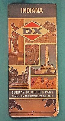 SUNRAY DX OIL Company Highway ROAD MAP INDIANA 1966