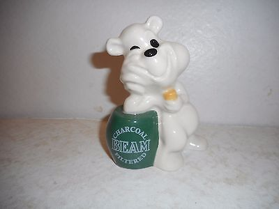 Wade Porcelain Jim Beam Charcoal Filtered Bear leaning on a Whiskey Barrel