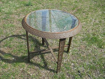 Antique Ornate Glass Top and Cast-Iron 19C Table