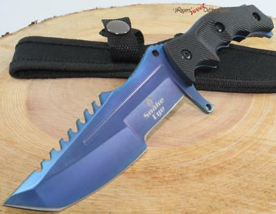 "8.5"" SNAKE EYE Black Blue Tanto Sawback Tactical Combat Survival Knife + Sheath"