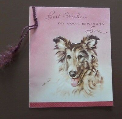 1950's Beautiful Collie Birthday Card