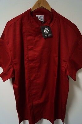 NWT Men's Chef Revival Crew Fresh Snap Jacket S/S Cuisinier Red Culinary Size L