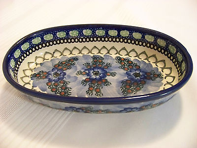 "Unikat Polish Pottery~Hand Made~8"" Oval Bowl~signed by Anna Pasierbiewicz"