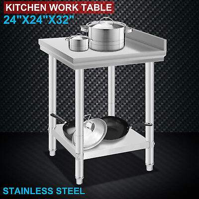 "24""x24"" Stainless Steel Work Food Prep Table with Backsplash Kitchen Tool Food"