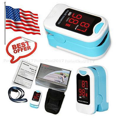US Stock,CMS50M Finger Pulse Oximeter Blood Oxygen SPO2 Monitor Heart Rate+CASE