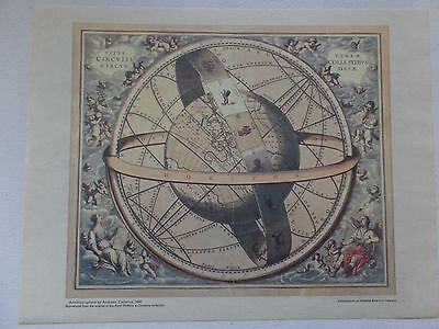 """13"""" x 10.5"""" Print Reproduction - Armillary Sphere by Andreas Cellarius - 1660"""