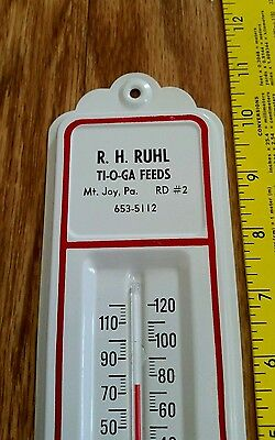 Advertising thermometer - ti-o-ga feeds - vintage farm feed seed dealer sign