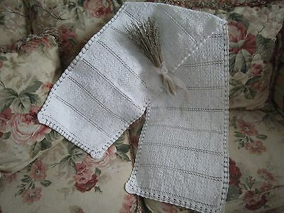~Beautiful Vintage 13 X 58 White Crochet Cotton Table Runner Shabby Cottage Chic
