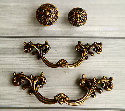 Drawer pulls wardrobe dresser knobs cabinet door handles antique brass 64 96mm