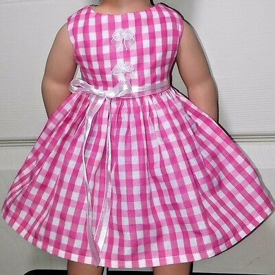Doll Clothes/Handmade/18 Inches/American Girl Dolls/Pink and White Gingham Dress