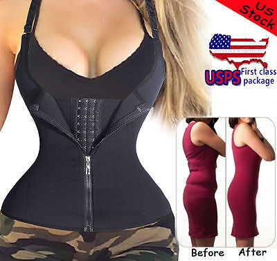US NEW Tummy Control Waist Trainer Shaper Top Shapewear Corset Vest with Zipper