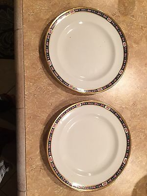 "Allerton's England Old English Bone China Salad Cake 6 3/4"" Plates Set Of 2"