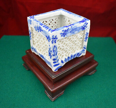Antique Chinese Reticulated Square Brush Pot with Display Stand, Circa 1800's