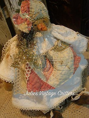 Primitive Snowman Doll Small! Antique Quilt  Old Linen,old Photo Small Snow Doll
