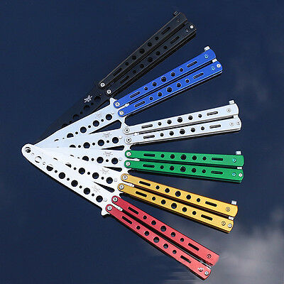 Rainbow Practice Tactical Knives Metal Butterfly Steel Trainer Dull Knife Gift