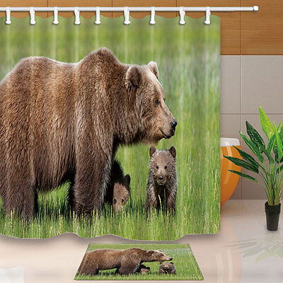 Brown bear mother and son Shower Curtain Bedroom Waterproof Fabric & 12hooks new