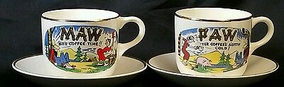 Pair of Hillbilly Paw & Maw Cups w/Homer Laughlin Saucers