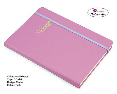 Balacron Leather Hard Cover A5 Lined Paper, Journal Notebook, Casina Pink