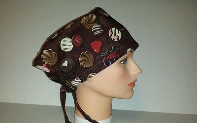 Valentine  Chocolate  Candy  / Scrub  Hat Pixie / Medical / Chemo Cap /surgical