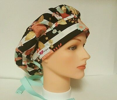 Floral  Decals  W / Black  Stripes  / Bouffant Scrub Surgical/ponytail  Caps
