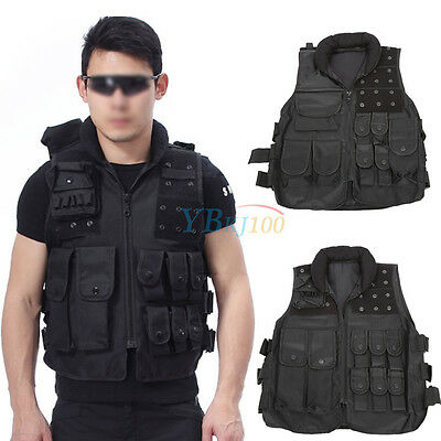 Black Tactical Army Police Airsoft Combat Assault Molle Carrier Hunting Vest