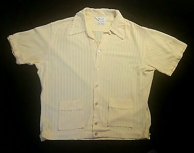 VINTAGE 60s YELLOW TEXTURED  WEAVE STRIPED MR CALIFORNIA TOP LOOP JAC SHIRT  L