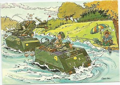 Mazel Humorous M113 In The Water  Military Belgium  Postcard