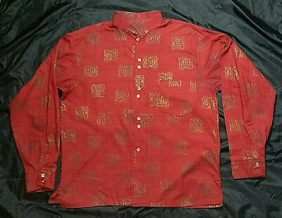 VTG 60s NEHRU COLLAR BURGUNDY/GOLD CHINESE CHARACTERS PIEDMONT DARBY  SHIRT  L