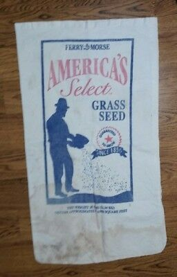 Vintage Advertising Ferry Morse America's Select Grass Cloth Seed Bag Sack