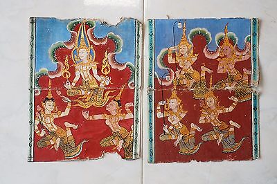 Antique Thailand Manuscript Painting from the 19th Century on book  04