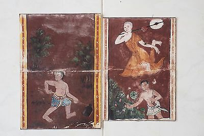 Antique Thailand Manuscript Painting from the 19th Century on book  06