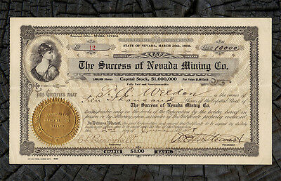 1908 Success of Nevada Mining Company Stock Certificate SPARKS NEVADA Washoe Co.