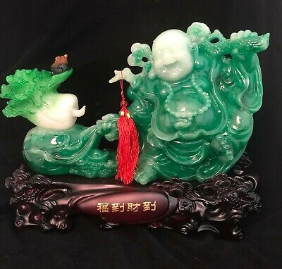 Green Jade Buddha On Clear Crystal Base Feng Shui Good Luck Money (11x11x19cm H)