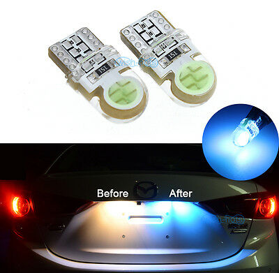 2Pcs Bright Ice Blue COB T10 168 194 2825 LED Bulbs For Car License Plate Lights