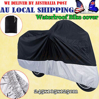 Thicker XXL Motorcycle Waterproof Outdoor Motor Bike Scooter Dust Rain Cover BLK