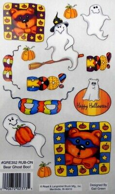 Halloween *BEAR GHOST BOO*  Royal & Langnickel rub--ons *Scrapbooking/Cardmaking