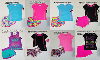 NEW Girls' 2 PC Lot Active Summer Tee Tops & Shorts / Swim Shorts 4-5, 6-6X, 7-8