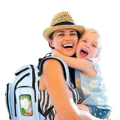 Unisex Diaper Bag Backpack, Waterproof 300D Polyester ~ Has 15 Pockets & Padded