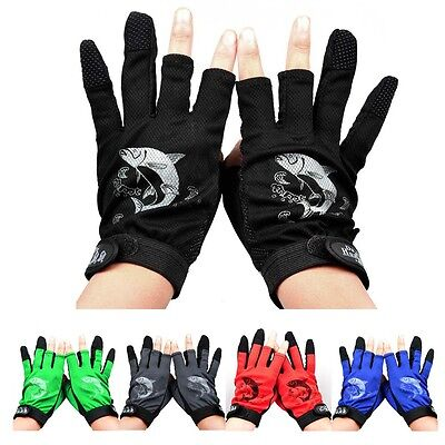 1 Pair Durable 3 Cut Finger Outdoor Fishing Hunting Gloves Rod Trakle Anti Slip