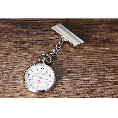 Silver Vintage Large Face Nurse Nursing Nurses Pendant Pocket Fob Brooch Watch