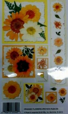 *ORANGE FLOWERS* Royal & Langnickel rub--ons *Scrapbooking/Cardmaking/Papercraft