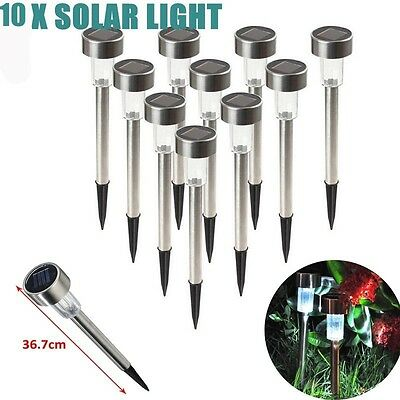 10X Solar Power LED Stainless Steel Pin Garden Lights Outdoor Park Path Lamp AU