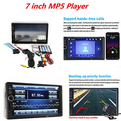"""Car 2 DIN  7"""" HD Touch Screen Bluetooth Stereo Radio MP5 Player Rear View Camera"""