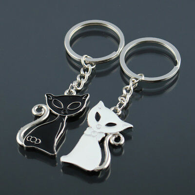2PCS Funny Cat Chrome Silver Couple Key Rings Key Chains One Black & White