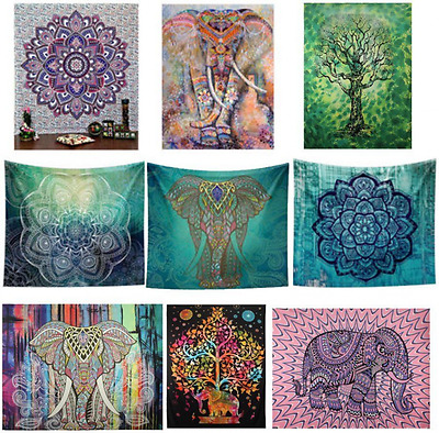 210cm Large Indian Tapestry Wall Hanging Hippie Elephant Bedspread Throw Bohemia