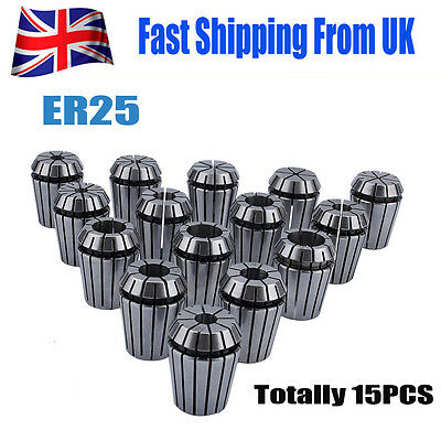 15PC ER25 2mm-16mm Precision Spring Collet Set For CNC Milling Lathe Tool UK New