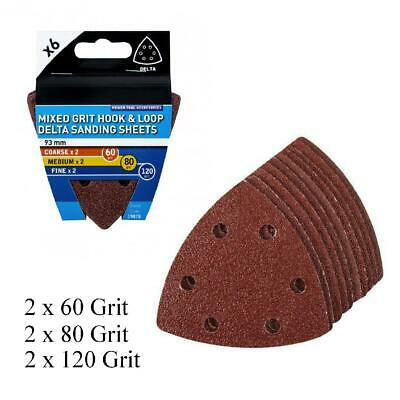6 x Mixed Grit Hook and Loop 93mm Detail Sanding Sheets, Delta Sandpaper Pads